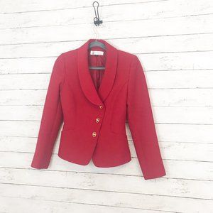 Tahari Red Blazer Jacket w/ Cute Gold Buttons - 4